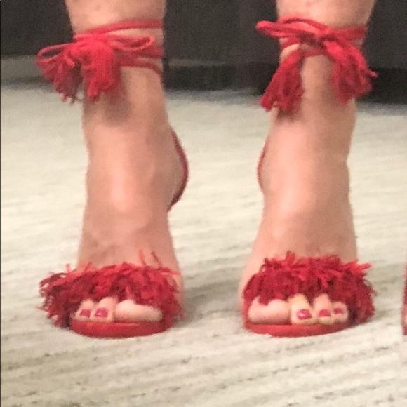5fc639cfd77 Steve Madden Sassy Suede sandal red orange. M 5af8851b3800c52ba02c209b